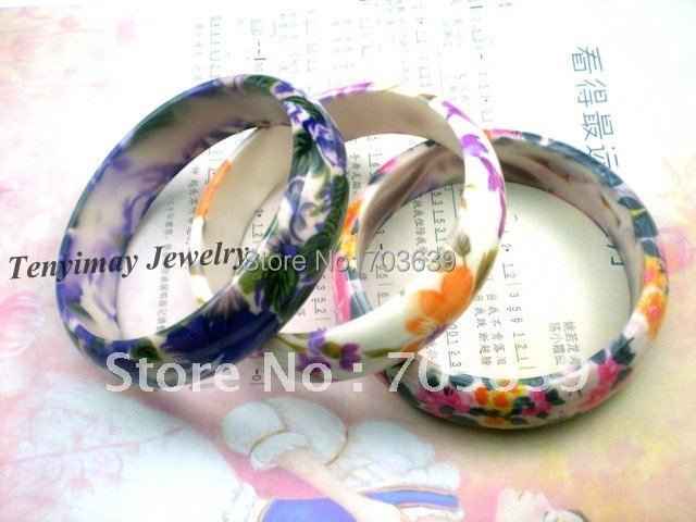 Multicolor Acrylic Flower Bangles 12pcs/Lot Printed Bangles Free Shipping Women's Bangles For Gift, Promotion