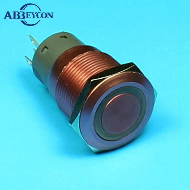 TY 1940F 19mm Flat round head momentary 12vdc ring illuminated pink switch