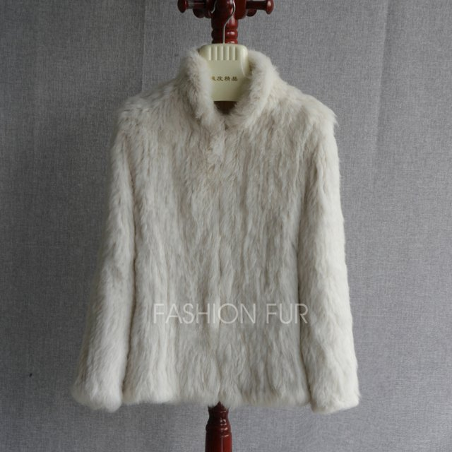 New Genuine Rabbit Fur Coat Fashion Women Knit Real Rabbit Fur Jacket Winter Warm Natural Rabbit Outwear Plus Size S-3XL YH12