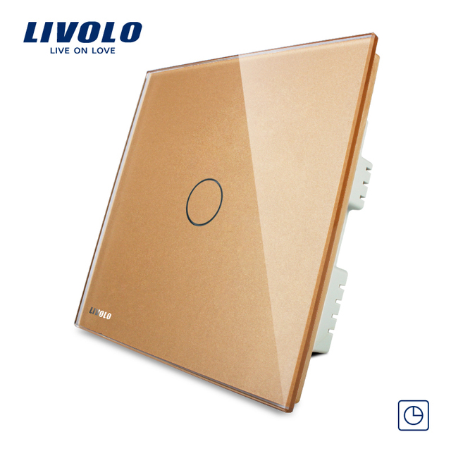 Livolo  Golden Crystal Glass Panel, 30s Delay, Wall Switch,  AC 220-250V UK standard, VL-C301T-63,Timer Switch Wall Light Switch