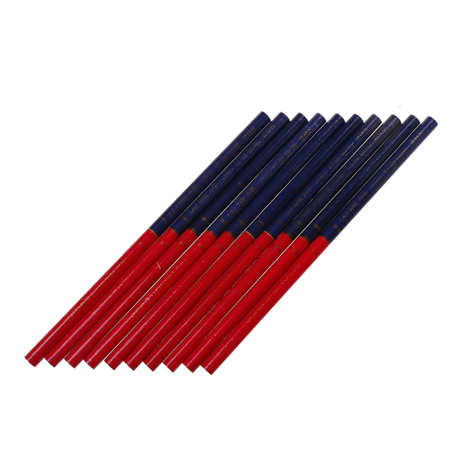 Carpenter Pencils Blue And Red Lead For DIY Builders Joiners Woodworking Thick Round Mark Pencil For Hands Tools 10PCS/Lot