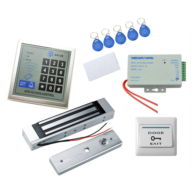 280KG Power Force Single Door 500users supports RFID standalone access controller ID Card Keyfobs Release Button DC12V 3A Kit
