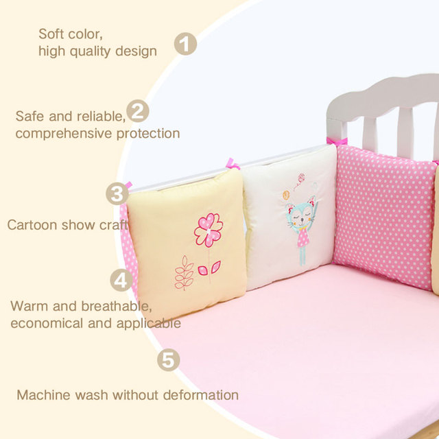 6Pcs/Set Baby Crib Cot Bumper Cushion Toddler Infants Bedding Safety Breathable