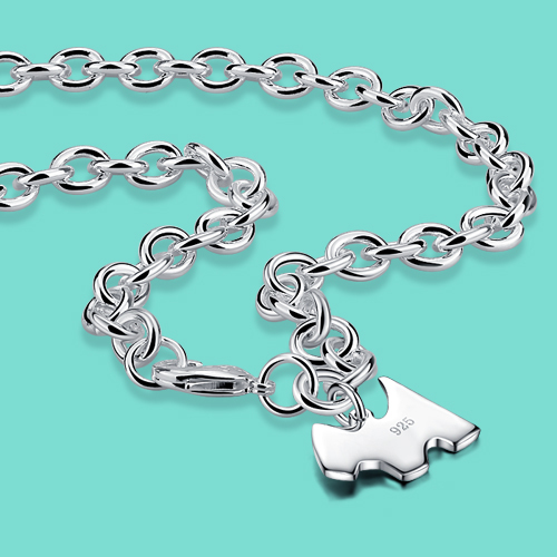 Fashion 925 sterling silver necklace female cute puppy pendant clavicle necklace solid silver popular jewelry birthday gift