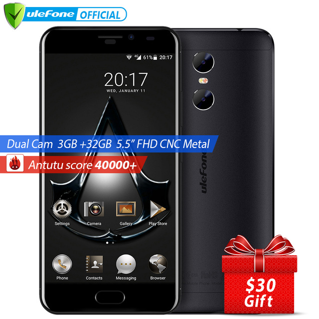 Ulefone Gemini 5.5 inch FHD Screen Mobile Phone Android 6.0 MTK6737T Quad Core 3GB+32GB Front Touch ID Dual Camera 4G Smartphone