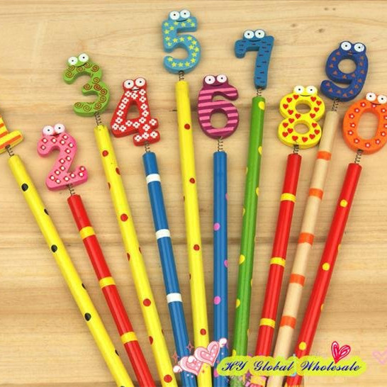 50pcs/lot New Cute Number Wooden  Pencils Office and Study Pencils Stationery Pencils Kids gifts