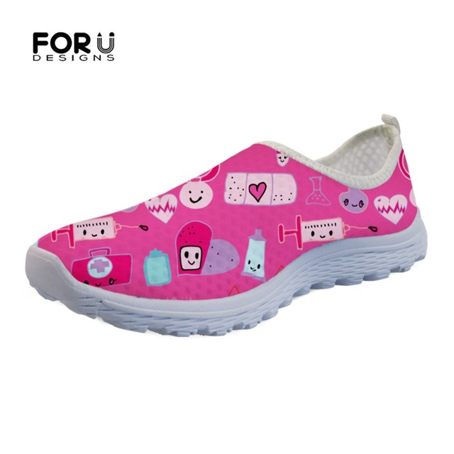 FORUDESIGNS 3D Kawaii Medical Pink Women Flats Shoes Woman Casual Sneakers Fashion Summer Ladies Mesh Lazy Slip On Shoes Zapatos