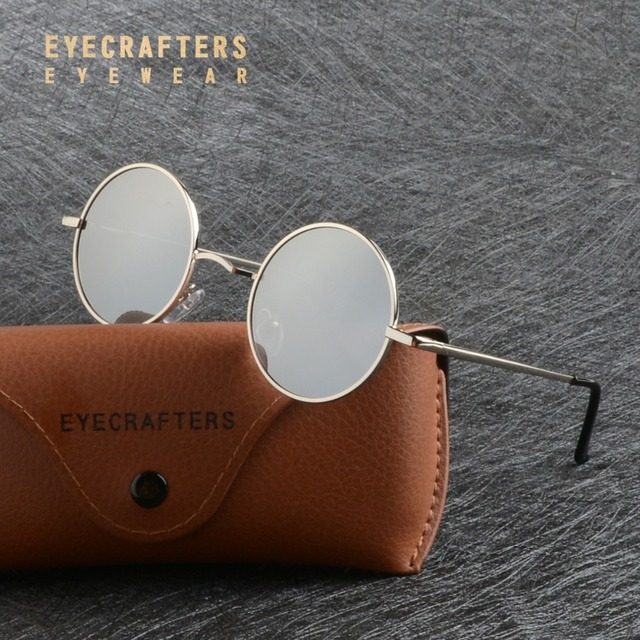 Eyecrafters Metal Steampunk Round Polarized Sunglasses Mens Womens Silver Mirrored Coating Lens Eyewear Retro Vintage SunGlasses