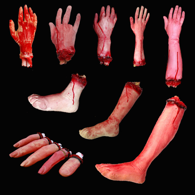 Halloween Horror Props Bloody Hand Haunted prom House Party Decoration Scary Hand Finger Leg Foot Brain Heart HOT Gift Box
