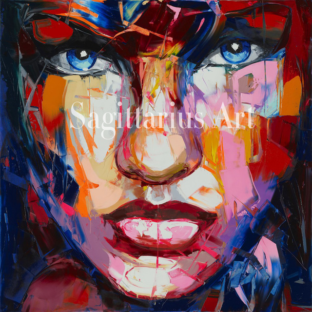 Hand Painted High quality Palette knife Francoise Nielly Designers Oil Painting Canvas Wall Living Room madam Cool face Fine Art