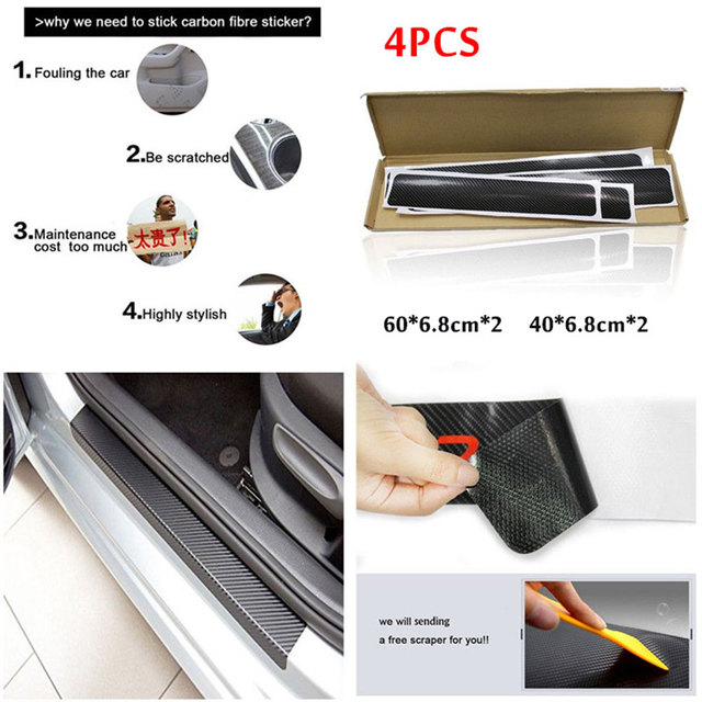 Car Door Sill Sticker Cover Scuff Protector Anti-Kick Car Styling Vehicle Welcome Pedal Silver / Red / Blue 4Pcs/Set