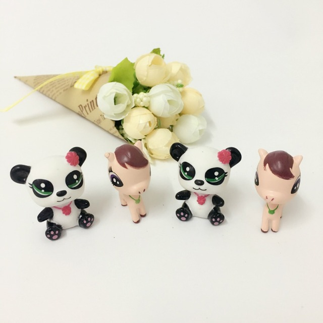 20PCS/lot cartoon horse and panda toy 4cm, Many kinds colecionaveis,My little toys for kids