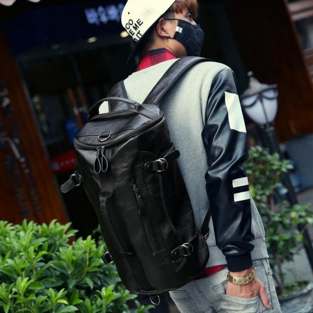 bag again 030117 new hot man leather backpack male casual travel bag