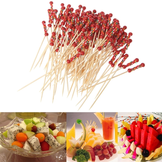 100pcs Beads Bamboo Cocktail Picks Food Sticks Disposable Toothpicks Party Club Home Fruit Pick