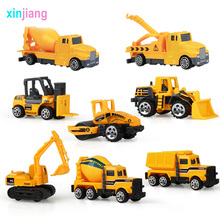 8PCS Mini Diecast Alloy Engineering Car Model Tractor Toy Dump Truck Toy Vehicles Road Vehicles Car Model Truck Gift For Kids \