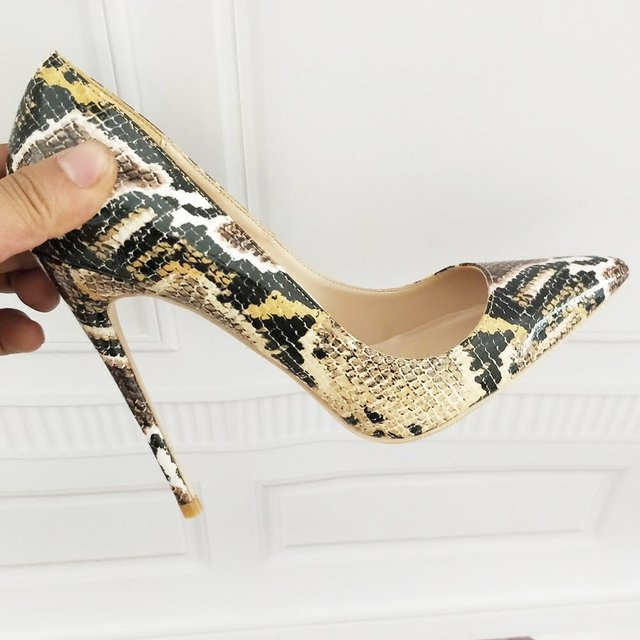 Leopard Women Elegant Pointed Toe Shallow Pumps Office Lady Summer Slip On High Thin Heel Dress Shoes Concise Style High Heels