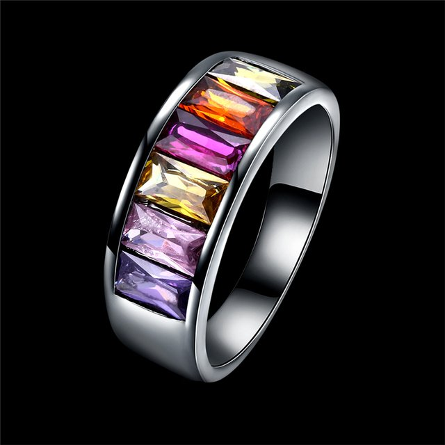 Black Gold Color women Rings Princess Luxury Jewelry Pave Purple Blue Pink Yellow Cubic Zircon Party Rings Wedding Ring