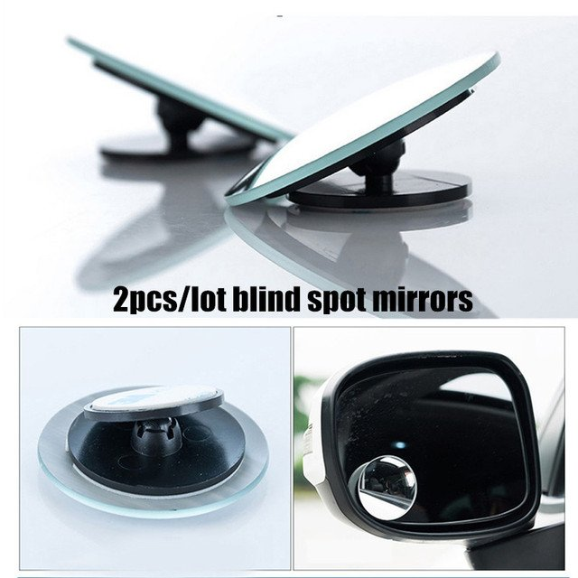 2pcs/lot 360 Degree Car Round Convex Mirror Wide Angle Blind Spot Mirror For Parking Rear View Mirror