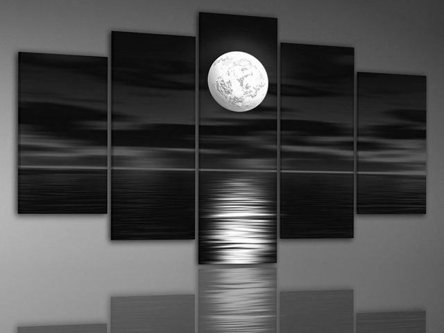 hand-painted   wall art  Sea full moon night home decoration abstract large canvas paintings 5pcs/set frame