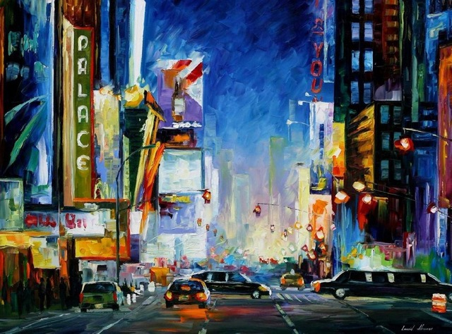 Wall art Paintings broadway Modern Abstract Art City scenes High quality Hand painted contemporary oil paintings Landscapes