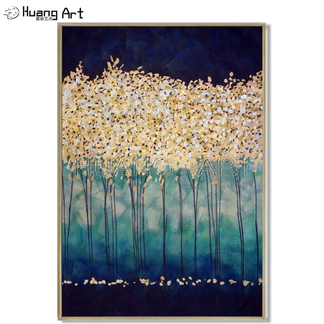 New Arrival Handmade Modern Landscape Oil Painting on Canvas Decoration Acrylic Gold Tree Painting for Living Room Wall Picture