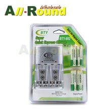 NEW Cheaper BTY 1.2V AA 4*3000mah Rechargeable Ni-MH Battery + BTY-802 AA/AAA Battery charger With Packing Case