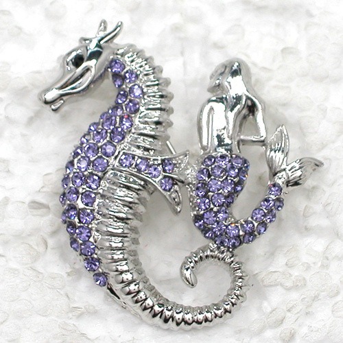 12pcs/lot Wholesale Fashion Brooch Rhinestone Mermaid Seahorse Pin brooches Jewelry Gift C101772