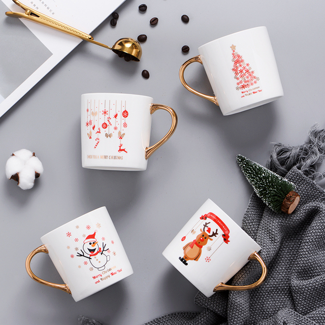Nordic light luxury gold ceramic cup Christmas mug New Year's gift  lovers home coffee cup