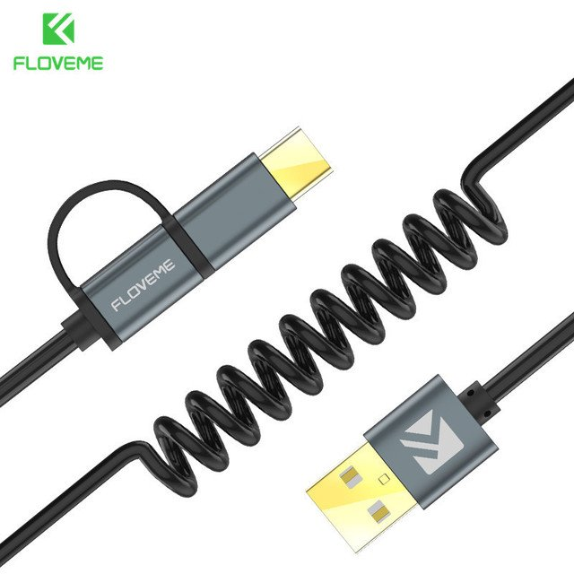 FLOVEME 2 in 1 Micro USB Cable Type C QC 3.0 USB-C Cable Fast Charger For Samsung Galaxy S8 Xiaomi 4X Android Mobile Phone Cabo