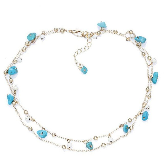 Ethnic Natural Stone Choker Necklaces For Women Statement Jewelry Multilayer Chain Chokers Fashion Collier Femme Party Gift