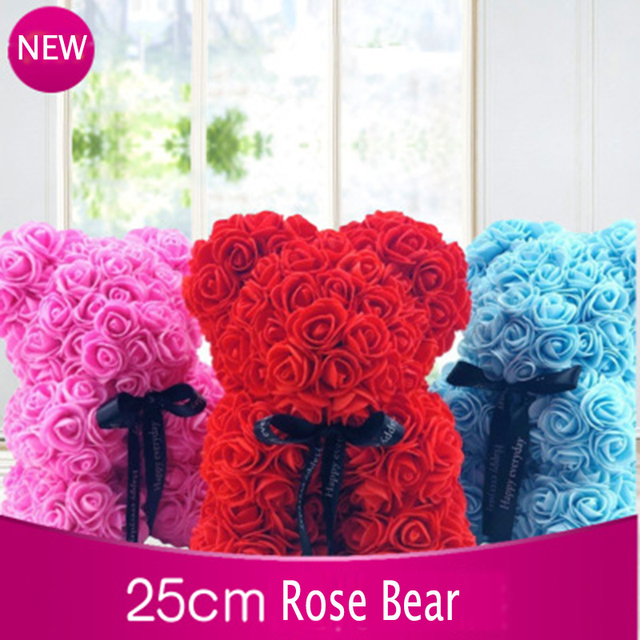 2019 drop shipping 25cm Soap Foam Bear of Roses Bear Rose Flower Artificial New Year Gifts for Women Valentines Gift