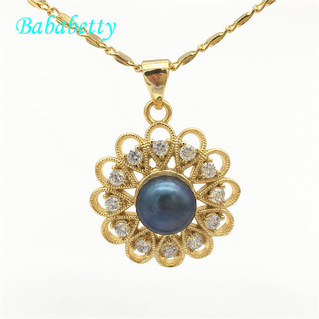 New 2018 hot sale  18KGP  Freshwater real pearl genuine  Inlay CZ A flower Fashion Jewelry  Gift pendant necklace free chain