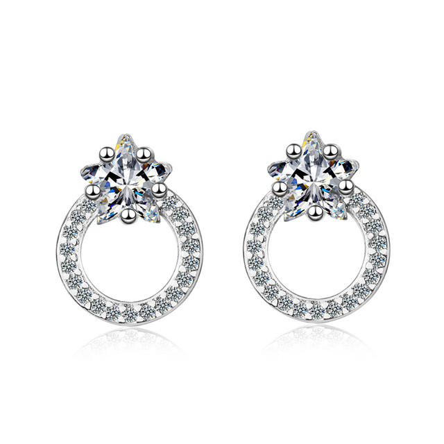 KOFSAC Fashion 925 Sterling Silver Earrings For Women Wedding Exquisite Full Zircon Round Earring Jewelry Lady Anniversary Gifts