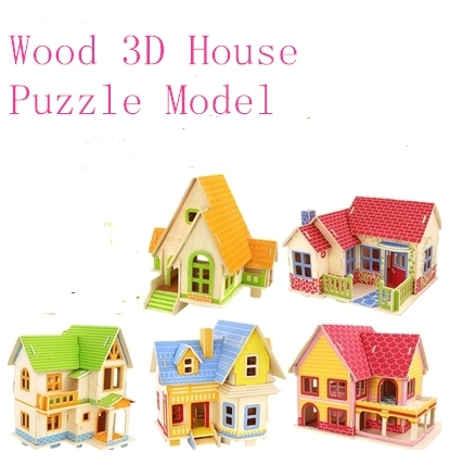 Kids DIY Wood 3D House Puzzle Model Building Kits Wooden toys Educational