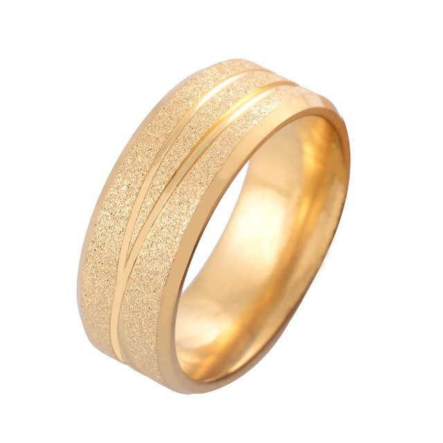 36Pcs/lot Wholesale 8mm Width Gold Color Stainless Steel Rings for Men and Women Fashion Couple Jewelry Rings Size 17-21