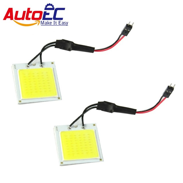 AutoEC 100X Car Dome Light 48 SMD chips COB LED Dome Panel Light with t10 ba9s Festoon Adapter #LL27
