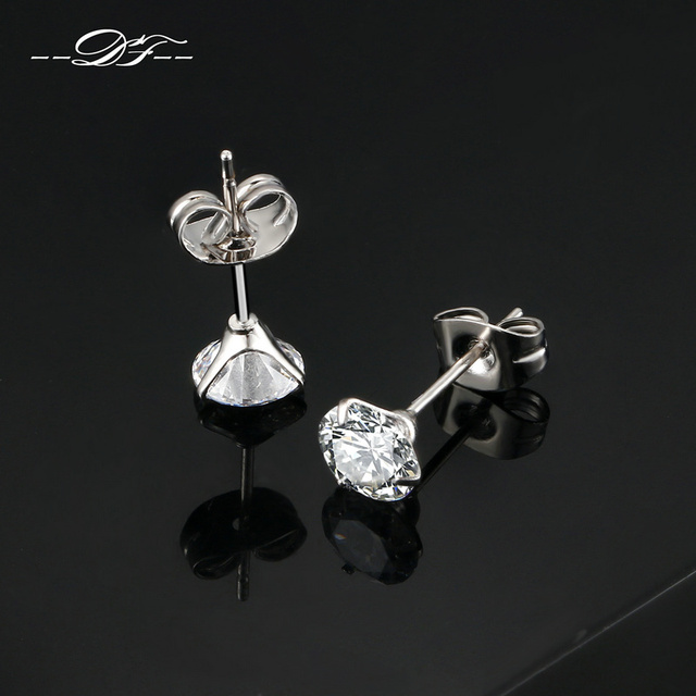 DFE435 0.7 Carat Cubic Zirconia Stud Earrings Silver Color Silver Color Fashion CZ Stone Jewelry For Women brincos