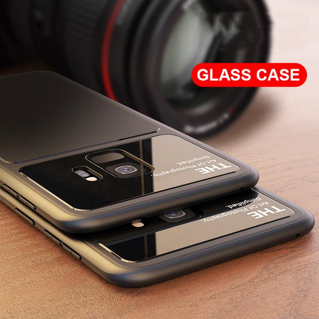 For Samsung Galaxy S9 Case Luxury Ultra Slim Tempered Glass Silicone Soft Cover Back Shockproof Housing for Galaxy S9 Plus 2018