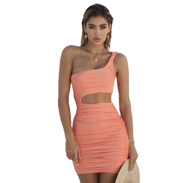 Sexy Hollow out one shoulder women summer dress vestidos Solid slim bodycon Cocktail club party dress Sleeveless midi dress