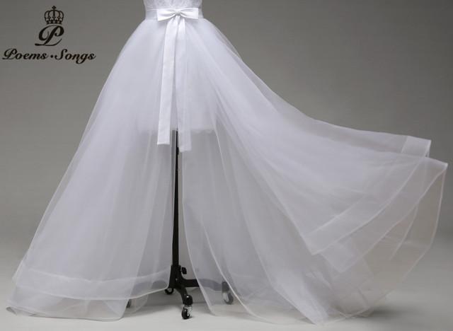 Poemssongs high quality only sale detachable train three layers of silky organza  not included wedding dress