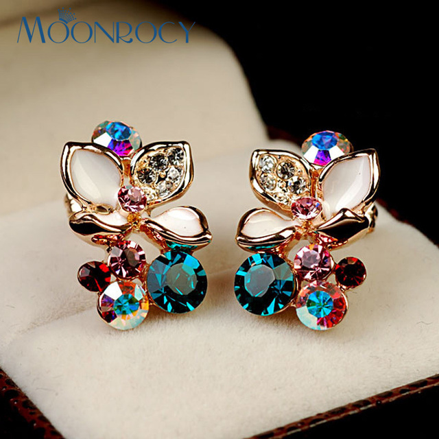 MOONROCY Free Shipping One Piece Fashion Crystal Earrings For Women Rose Gold Color Jewelry Flower Wedding Earring For Women