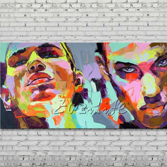 Palette knife portrait Face Oil painting Character figure canva Hand painted Francoise Nielly wall Art picture for living room20