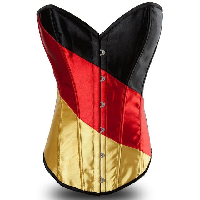 Sexy Corpete Corselet Women Strapless Satin Deutschland &Germany Flag Corsets& Corset Top Bustier Overbust Body Shapewear
