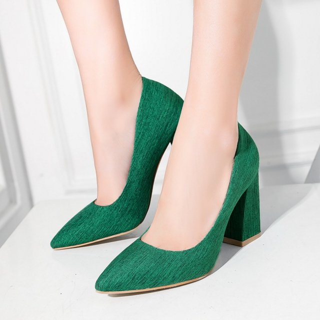 S.Romance Women Pumps 2018 Plus Size 34-43 Fashion Elegant Pointed Toe Office Ladies Square Heels Woman Shoes Green Pink SH087