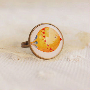 Wholesale Vintage Bird Cameo Ring Bronze Ring Adjustable Rings 12pcs/lot JZ012