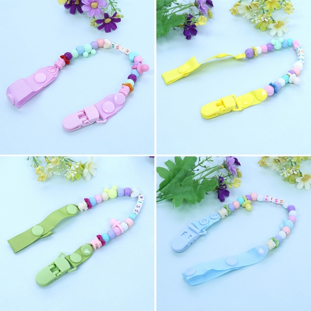 New Baby Pacifier Clip Pacifier Chain Hand Made Colourful Beads Dummy Clip Baby Soother Nipple Holder for Baby Kids