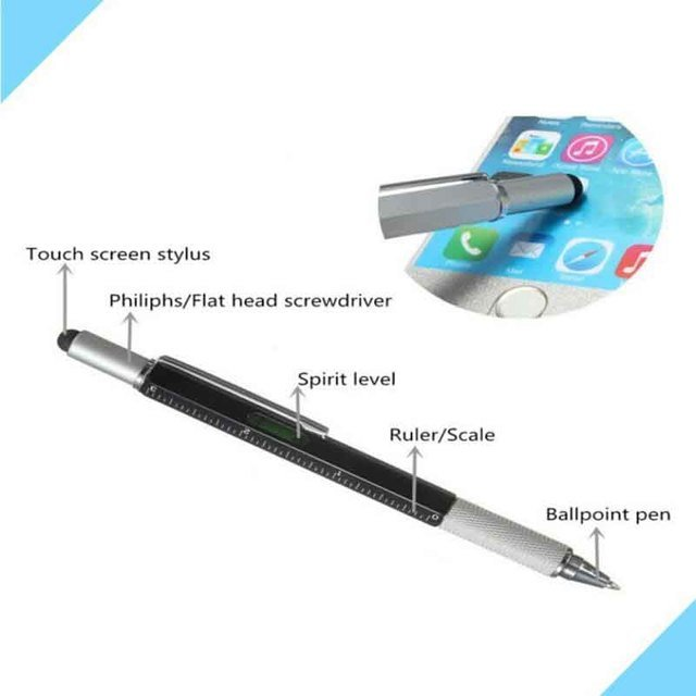 1pcs/lot New Arrival Tool Multi Function Pen Screwdriver Ruler Spirit Level with a top and scale ballpoint 6 in 1 metal pen