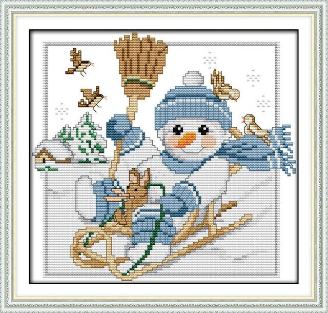 A Christmas snowman (2) Printed on Canvas DMC Counted Chinese Cross Stitch Kits printed Cross-stitch set Embroidery Needlework