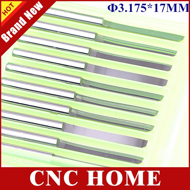 10pcs 3.175mm*17mm High Polish Straight Router Bits, Engraving Tools, Carbide Cutter, Cutting MDF on CNC Carving Machine