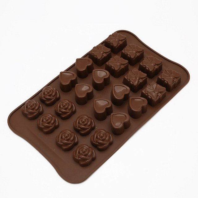 1 Piece Silicone Heart flower mold chocolate Muffin Sweet Candy Jelly fondant Cake chocolate Mold Silicone tool Baking Pan